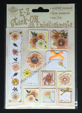 Orange Flowers Glitter and Gem E-Z Stick-On Embellishments